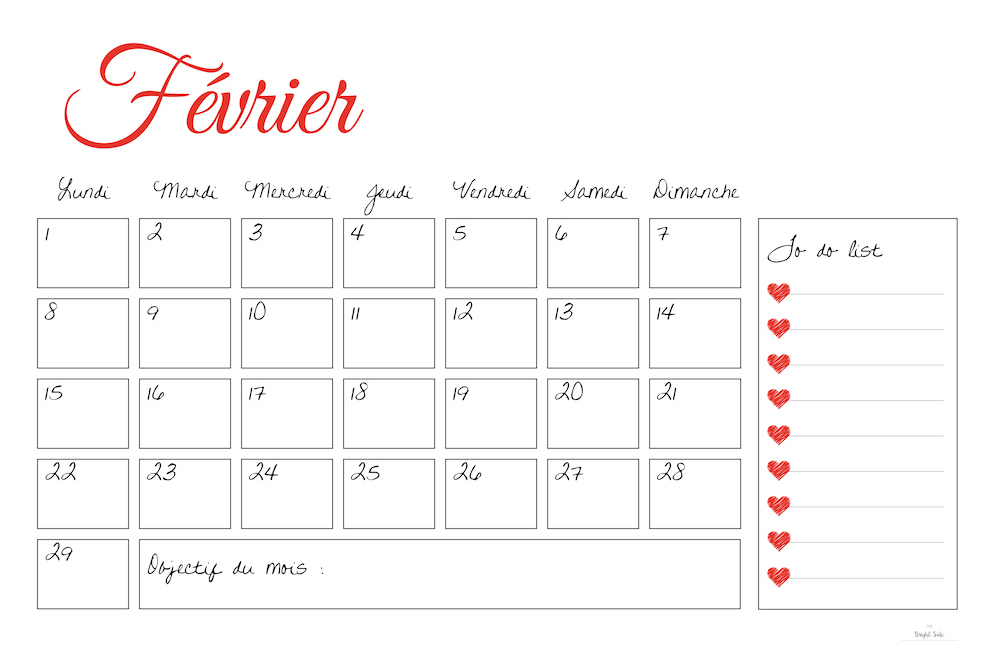 free printable DIY calendrier février
