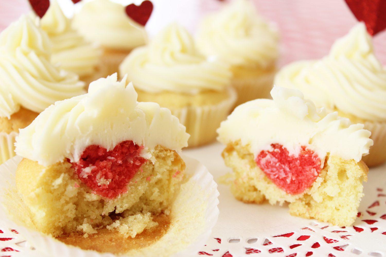 Cupcakes vanille avec insert en forme de coeur ❤️