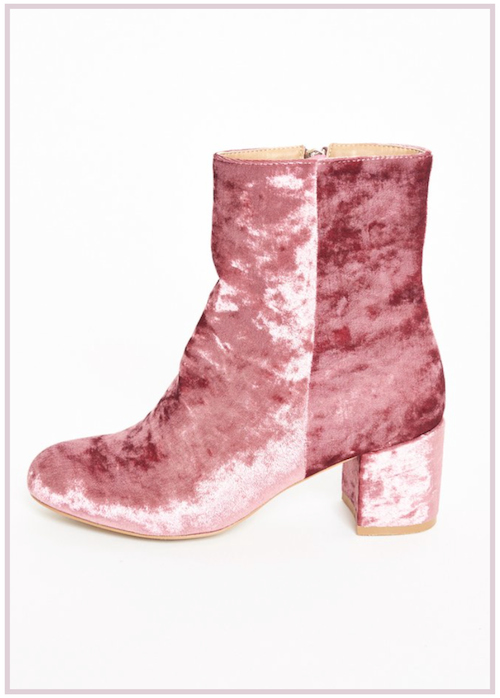 Chaussures velours rose