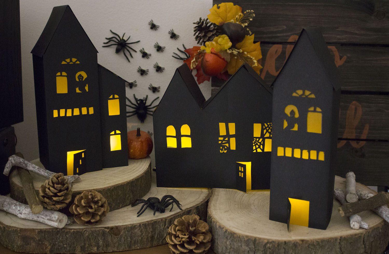 Cr ez vos photophores maisons hant es d 39 halloween patron gratuit inclus - Maison papier a decouper ...