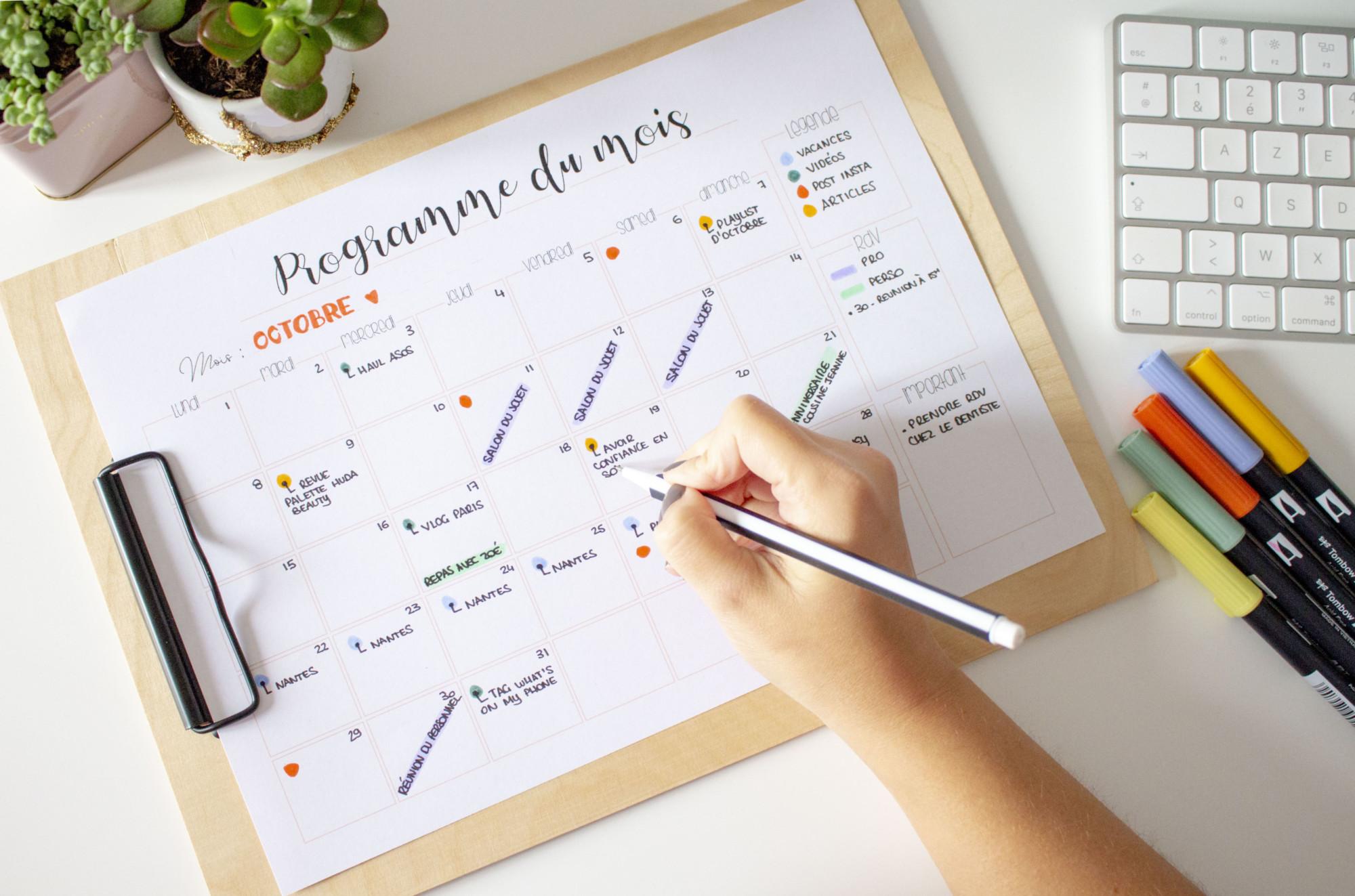Calendrier Ludique A Imprimer 2020.Planners A Imprimer Pour S Organiser Au Quotidien Gratuit