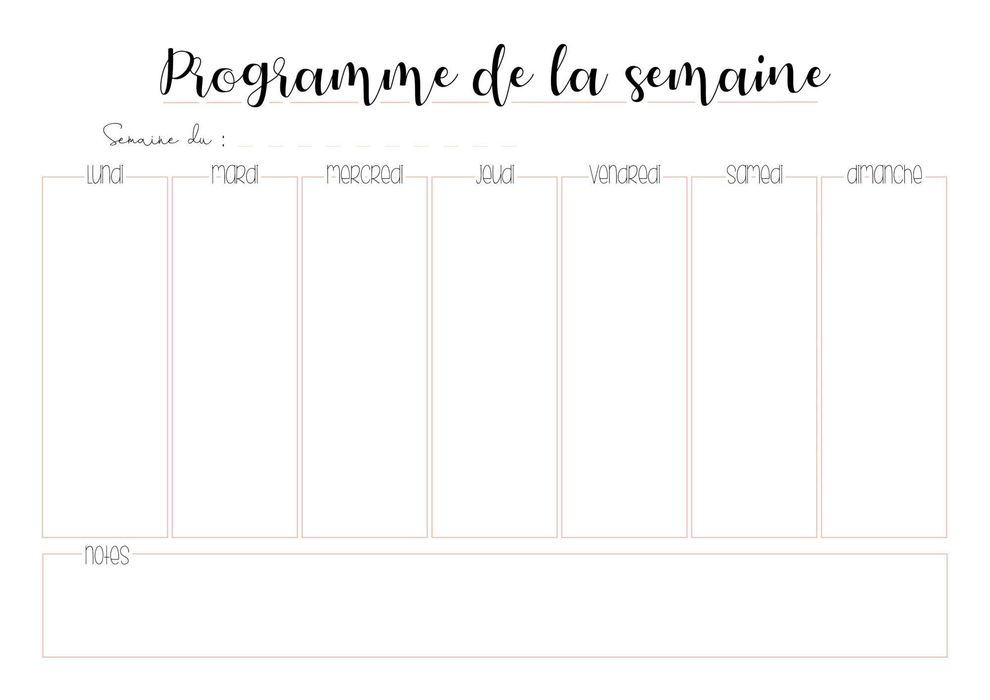 Planner A Imprimer Gratuitement Programme De La Semaine The Bright Side