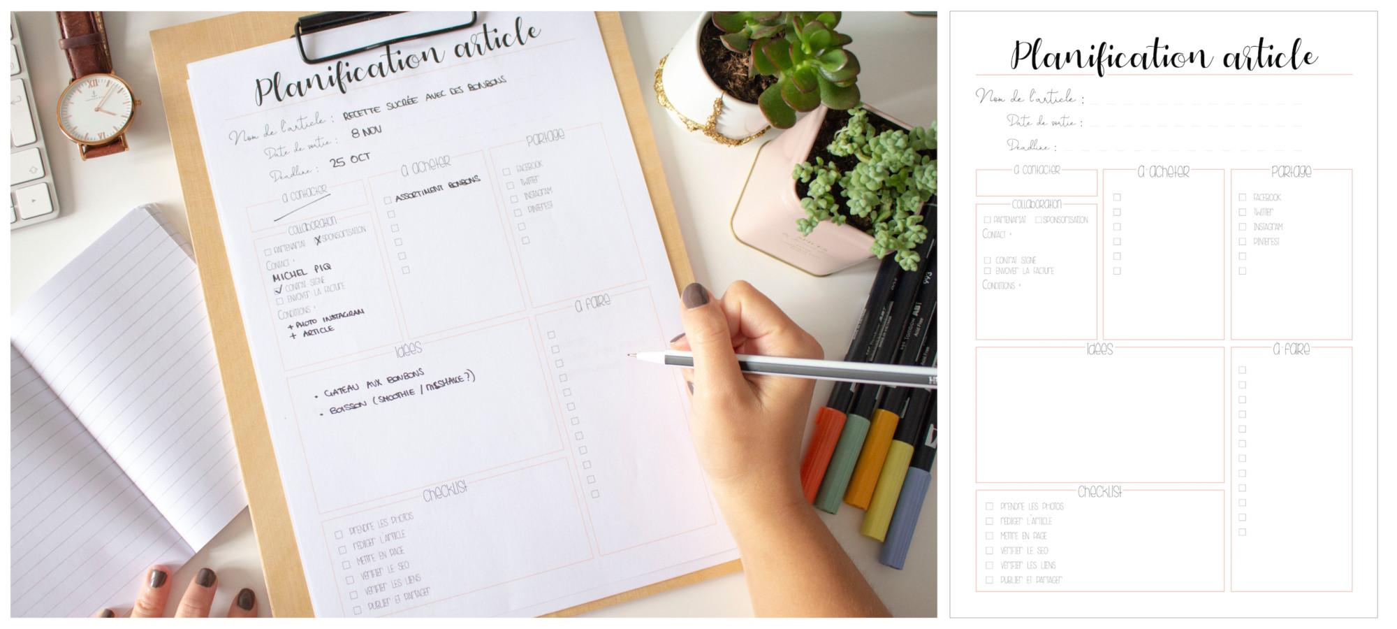 Planner à imprimer - planification article