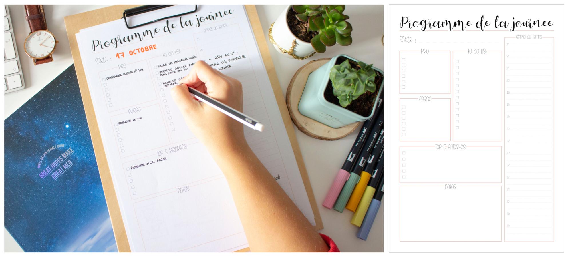 Planner à imprimer - programme de la journée