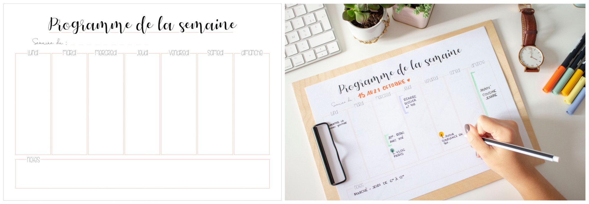 Planner à imprimer - programme de la semaine