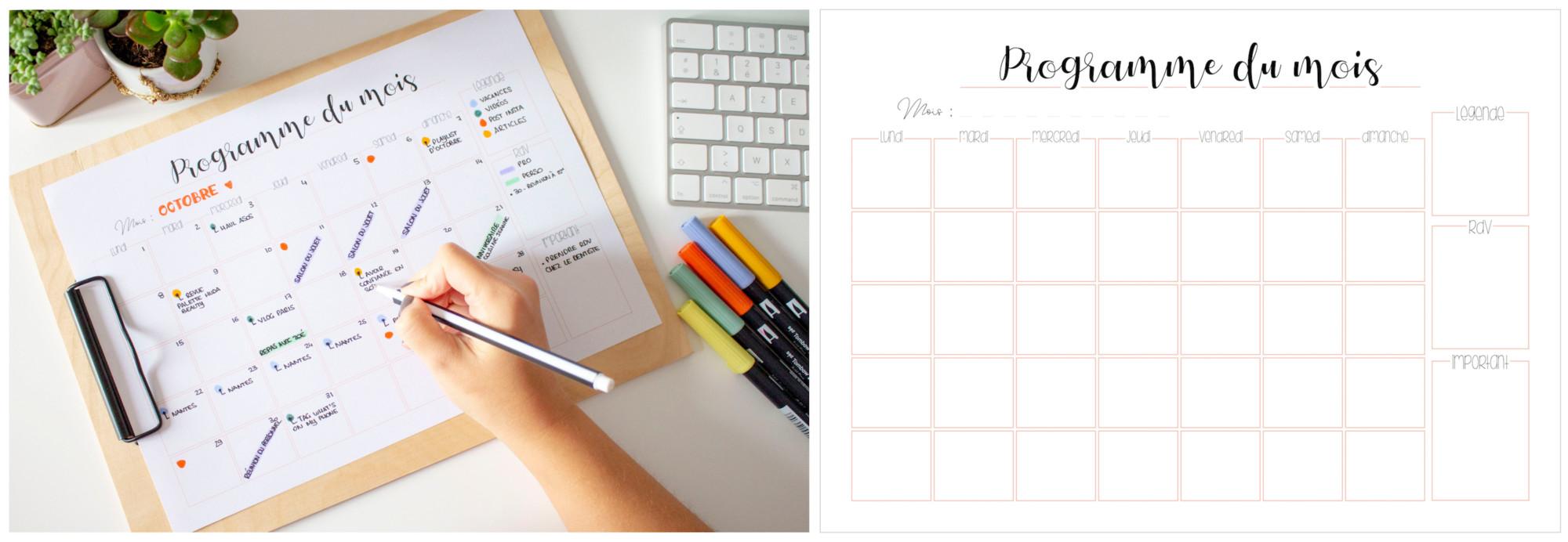 Planner à imprimer - programme du mois