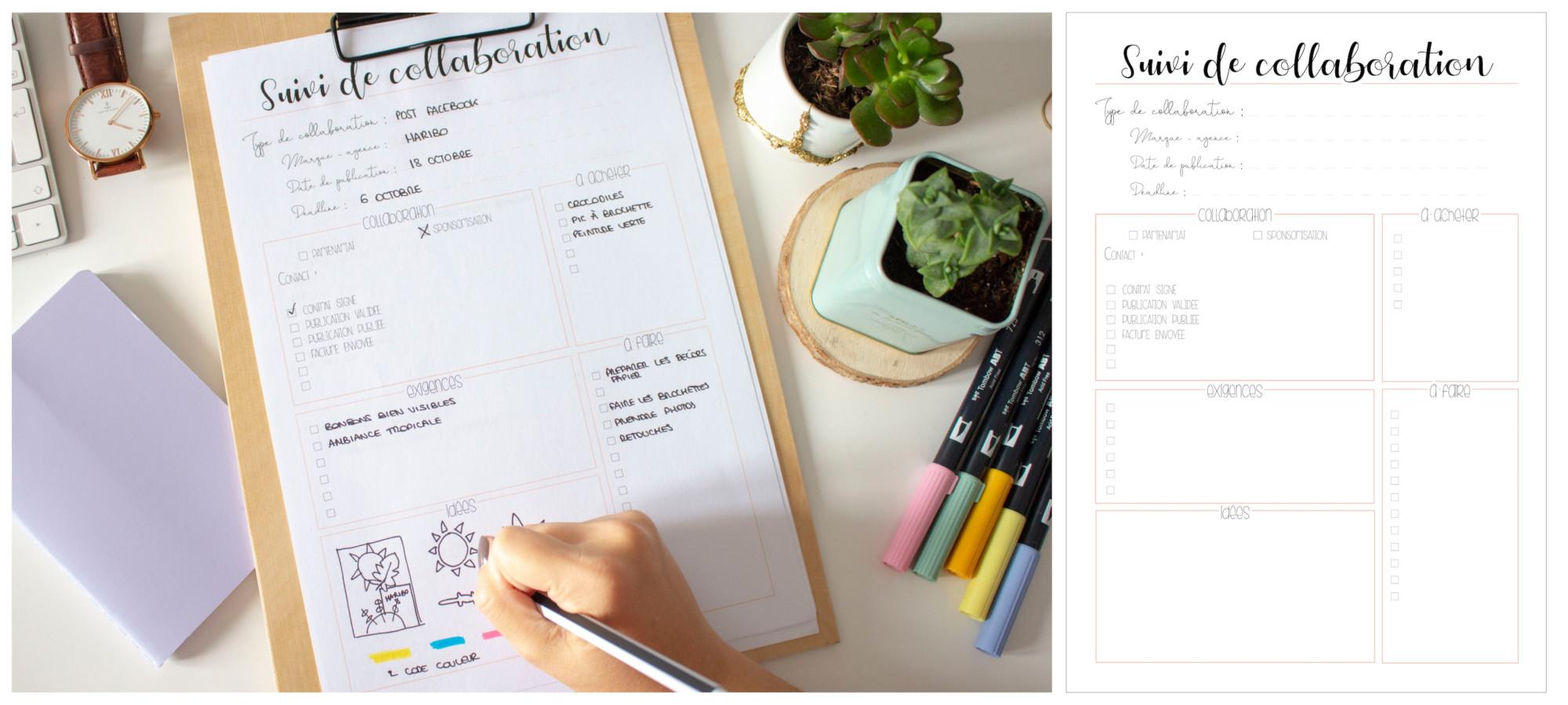 Planner à imprimer - suivi de collaboration